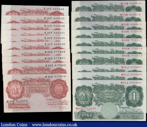 Bank of England Beale & O'Brien (20) including One Pounds Green (10) comprising Beale B268 issues 1950 (3) a consecutive set series M15B 508917 - M15B 508919 GEF and O'Brien B273 issues 1955 (7) including 2 consecutive sets serial numbers A62K 773115 - A62K 773118 GEF and W97J 375495 - W97J 375497 GEF - about UNC. Along with Ten Shillings (10) comprising Beale B266 Red-brown issues 1950 (4) a consecutively numbered set R55Z 417279 - R55Z 417282 and O'Brien B271 Red-brown issues 1955 (6) a consecutively numbered set E34Y 545529 - E34Y 545534. All GEF : English Banknotes : Auction 165 : Lot 76