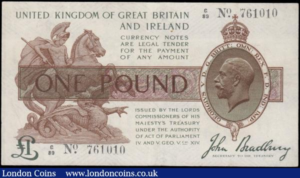 One Pound Bradbury T16 Ireland in title & Dot in No. issue 1917 series C/89 761010 GEF with small rust spot : English Banknotes : Auction 165 : Lot 8