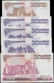 London Coins : A165 : Lot 819 : Scotland The Royal Bank of Scotland plc signature Maiden issues (5) comprising 10 Pounds Calloway-Mu...