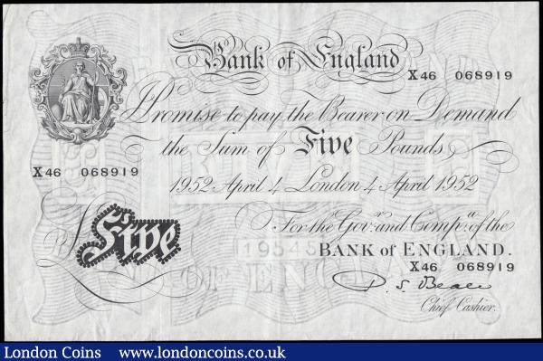 Five Pounds Beale White Note B270 dated 4th April 1952 serial X46 068919, GVF : English Banknotes : Auction 165 : Lot 82