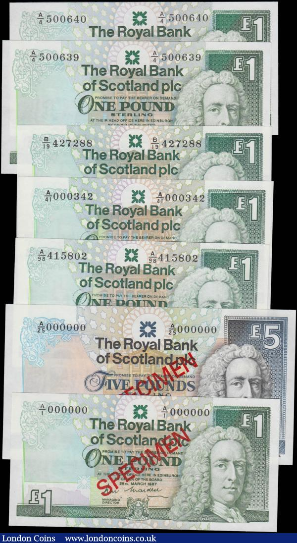 Scotland The Royal Bank of Scotland plc signature Maiden issues (7) comprising SPECIMEN notes (2) including 1 Pound Calloway-Murphy RB85 serial number A/1 000000 and 5 Pounds Calloway-Murphy RB86 serial number A/25 000000, both dated 25th March 1987 and with red SPECIMEN overprint diagonally on obverse and reverse. Along with regular issue 1 Pounds including Calloway & Murphy RB85 (2) consecutive pair serial numbers A/4 500639 & A/4 500640 & Calloway & Murphy RB90a (3) serial numbers B/19 427288, A/98 415802 and FIRST prefix low number for this type A/41 000342. All in very high grades to about UNC - UNC : World Banknotes : Auction 165 : Lot 820