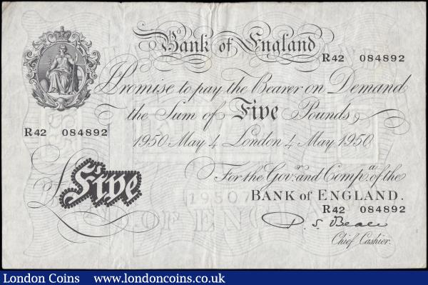 Five Pounds Beale White Note B270 dated 4th May 1950 serial R42 084892, about VF with some dirt : English Banknotes : Auction 165 : Lot 83