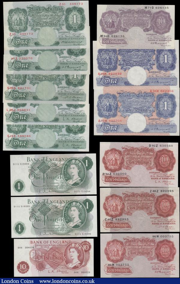 Bank of England a small group in mixed grades VF - UNC (14) comprising Catterns (1) One Pound Green B225 issued 1930 last series Z55 448173. Peppiatt (5) Ten Shillings B236 Unthreaded issue 1934 series 86W 003755, One Pound Green B238 issued 1934 last series 97Z 230070,One Pound Emergency Issue from the Second Period B249 Blue/Pink Metal Thread issue 1940 (2) - the first being the last series A35H 802356 and the second being last series shades X58H 227632, Ten Shillings Emergency Issue B251 Mauve and with a Metal Thread issued 1940 series M71D 626135. Beale (2) Ten Shillings B266 issued 1950 first series Z46Z 892995 and One Pound Green B269 Replacement issue 1950 series S36S 421731. O'Brien (4) Ten Shillings (2) the first being B271 issued 1955 first series D92Z 630560 and the second being B286 QE2 portrait issued 1961 series D06 384029, along with One Pound Green (2) the first being B274 a later Replacement issue 1955 series S18T 549046 and the second being B273 an earlier issue 1955 series L98J 869831 .Hollom (2) One Pound a consecutively numbered pair B288 issued 1963 series D11U 519394 and D11U 519395 : English Banknotes : Auction 165 : Lot 84