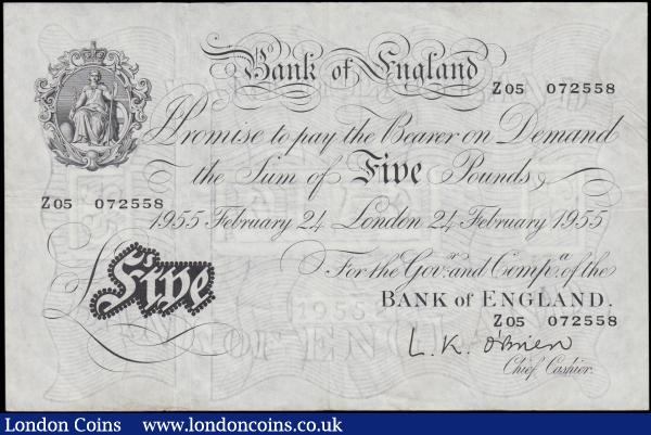 Five Pounds O'Brien White Note B275 Thin paper Metal thread issue dated 24th February 1955 series Z05 072558 good Fine to about VF : English Banknotes : Auction 165 : Lot 85