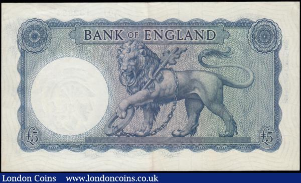 Five Pounds O'Brien Lion & Key B277 £5 Shaded Symbol issue 1957 FIRST RUN series A01 132984 GEF - about UNC and Scarce note : English Banknotes : Auction 165 : Lot 89