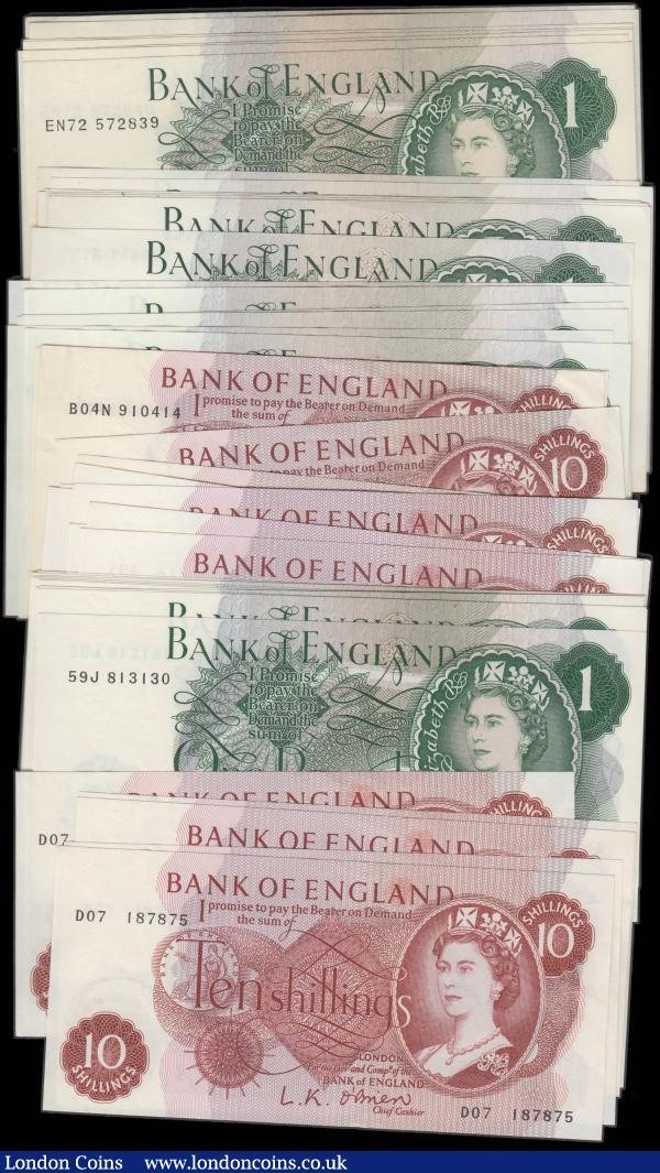 Bank of England a group of Ten Shillings and One Pounds QE2 portrait issues (42) all consecutive sets in high grades 1960's onwards cashiers include O'Brien, Hollom, Fforde and Page : English Banknotes : Auction 165 : Lot 91
