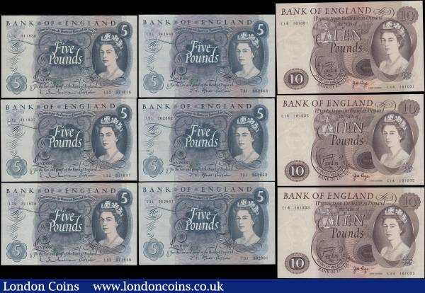 Bank of England Hollom, Fforde and Page (9) including Ten Pounds Lion & Key B326 issues 1971 a consecutive trio C14 161031 - C14 161033 along with Five Pounds QE2 & seated child Britannia issues (6) including B297 issues 1963 a consecutive trio L32 311836 - L32 311838, B312 issues 1967 a consecutive trio series T31 362861 - T31 362863. Mixed high grades including about UNC : English Banknotes : Auction 165 : Lot 94