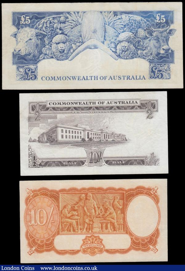 Australia (3) comprising Ten Shillings Pick 25b issued by Commonwealth Bank of Australia, ND (1939-1952), signed Armitage & McFarlane, series F64 842908, featuring George VI portrait obverse and Manufacturers on reverse. Ten Shillings Pick 33 issued by Reserve Bank of Australia, ND (1961-1965), signed Coombes & Wilson, featuring Matthew Flinders portrait obverse and  Parliament house, Canberra on reverse. Five Pounds Pick 35 issued by Reserve Bank of Australia, ND(1960-1965), signed Coombes & Wilson, featuring Sir John Franklin portrait obverse and Bull, Sheep,Cow,Fruit,Boomerang,Shield on reverse, all three notes cleaned and pressed VF or near so : World Banknotes : Auction 166 : Lot 104