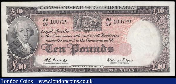 Australia 10 Pounds issued 1960 - 1965 series WA/59 100729, portrait Governor Phillip at left, signed Coombs & Wilson, (Pick36a), cleaned & pressed EF : World Banknotes : Auction 166 : Lot 106