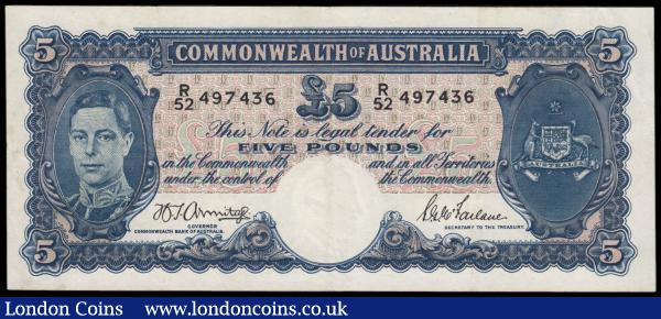 Australia 5 Pounds issued 1941 series R/52 497436, portrait King George VI at left, signed Armitage & Wilson, (Pick27b), pressed good VF : World Banknotes : Auction 166 : Lot 107