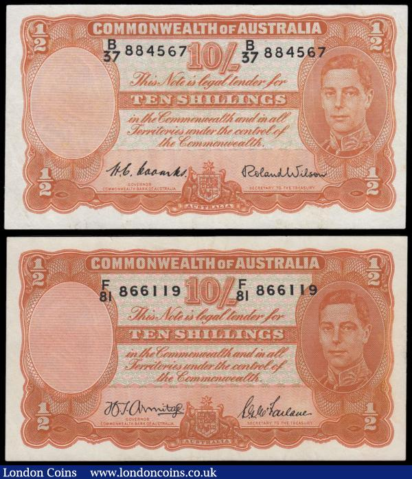 Australia Commonwealth 10 Shillings (2) series F/81 866119, signed Armitage & McFarlane issued 1942 and series B/37 884567 signed Coombs & Wilson issued 1952, portrait King George VI at right, (Pick25b & Pick25d), cleaned & pressed VF : World Banknotes : Auction 166 : Lot 114