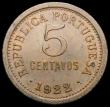 London Coins : A166 : Lot 1173 : Portugal 5 Centavos 1922 KM#569 GEF with traces of lustre and a small spot in the reverse legend