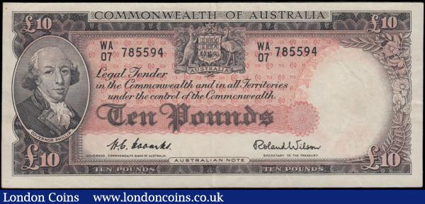 Australia Commonwealth Bank of Australia 10 Pounds Pick 32a 1960-1965 signature title Governor, Commonwealth Bank of Australia signatures Coombs & Wilson serial number WA/07 785594. The note in red and black on multicolour underprint featuring Portrait of Governor Phillip at left and Coat of Arms at upper centre on obverse and reverse in red featuring Symbols of Science, Industry and Law at centre and seated Allegorical woman holding pair of compasses. Admiral Arthur Phillip was a Royal Navy officer and the first Governor of New South Wales who founded the British penal colony that later became the city of Sydney, Australia. About EF - EF and Scarcer earlier issue : World Banknotes : Auction 166 : Lot 122