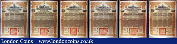 China, Chinese Government 1913 Reorganisation Gold Loan, 6 x bonds for £20, Hong Kong & Shanghai Bank issues, vignettes of Mercury and Chinese scenes, black & brown with coupons Fine to NVF some with pencil annotations and pinholes : Bonds and Shares : Auction 166 : Lot 13