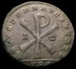 London Coins : A166 : Lot 1406 : Bi. Double Majorina, Magnentius, Trier (352-353), Rev. Large Christogram with Alpha and Omega beside...
