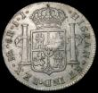 London Coins : A166 : Lot 1589 : Dollar George III Oval Countermark on a Peru 1794 LIMA 8 Reales KM#133, Bull 1858 Countermark NVF, h...