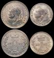 London Coins : A166 : Lot 1874 : Maundy Set 1827 ESC 2431, Bull 2452 NEF to EF with a slightly uneven matching tone
