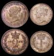 London Coins : A166 : Lot 1877 : Maundy Set 1838 ESC 2445, Bull 3478 UNC or very near so the Penny and Twopence with very minor cabin...