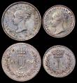 London Coins : A166 : Lot 1891 : Maundy Set 1860 ESC 2471A, Bull 3506 NEF to GEF with an attractive matching tone