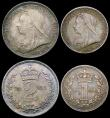 London Coins : A166 : Lot 1899 : Maundy Set 1901 ESC 2516, Bull 3559 EF to UNC with a matching deep tone