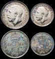 London Coins : A166 : Lot 1910 : Maundy Set 1919 ESC 2536, Bull 3979 GEF and bright some  toning, a matching set