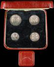 London Coins : A166 : Lot 1915 : Maundy Set 1928 ESC 2545, Bull 3988 GEF to UNC with some tone spots, a matching set comes in a squar...