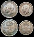 London Coins : A166 : Lot 1917 : Maundy Set 1930 ESC 2547, Bull 3990 A/UNC to UNC with matching tone, the Penny and Twopence with the...