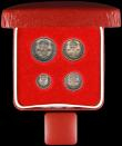 London Coins : A166 : Lot 1921 : Maundy Set 1932 ESC 2549, Bull 3993 EF to A/UNC with matching grey tone, in a modern red Maundy case...