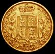 London Coins : A166 : Lot 2127 : Sovereign 1877S Shield Reverse Marsh 73 Fine, in a presentation box
