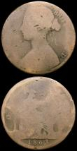 London Coins : A166 : Lot 2408 : Pennies (3) 1860 Toothed Border as Freeman 10 dies 2+D, Tripled F in F:D: NVF once cleaned, 1861 Fre...