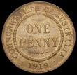 London Coins : A166 : Lot 2622 : Australia Penny 1919 Dot below lower scroll KM#23 GEF the reverse with pale lustre