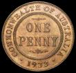 London Coins : A166 : Lot 2623 : Australia Penny 1933 KM#23 UNC toned with all diamonds and pearls bold on the crown band