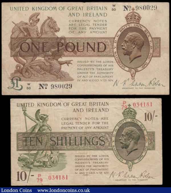 Treasury Fisher issues (2) comprising 1 Pound T24 issue 1919 serial number W/50 980029 Fine along with 10 Shillings T30 issue 1922 serial number P/79 034181 VG - about Fine : English Banknotes : Auction 166 : Lot 29
