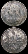 London Coins : A166 : Lot 2940 : Crown 1899 LXIII ESC 317, Bull 2607 VF with some contact marks, Halfcrown 1893 ESC 726, Bull 2778, D...