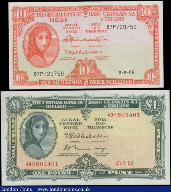 Ireland Lady Lavery issues (2) comprising 10 Shillings Pick 63a (BY E074, PMI LTN47) dated 6th June 1968 serial number 87P729759 signatures Muimhneachain & Whitaker and the note in red featuring Lady Hazel Lavery at left on obverse and  River Blackwater water spirit wearing a Crown of fish and apples at centre reverse. Along with 1 Pound Pick 64b (BY E085, PMI LTN54) dated 23rd May 1969 serial number 49H802401 signatures Whitaker & Murray and the note in green on pale gold underprint featuring a portrait of Lady Hazel Lavery at left on obverse and River Lee water spirit on reverse. Both UNC with a very Minor Ink Offset : World Banknotes : Auction 166 : Lot 296