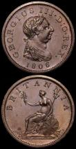 London Coins : A166 : Lot 3001 : Pennies 1806 Incuse Curl (2) Peck 1342 both NEF one with a few small spots