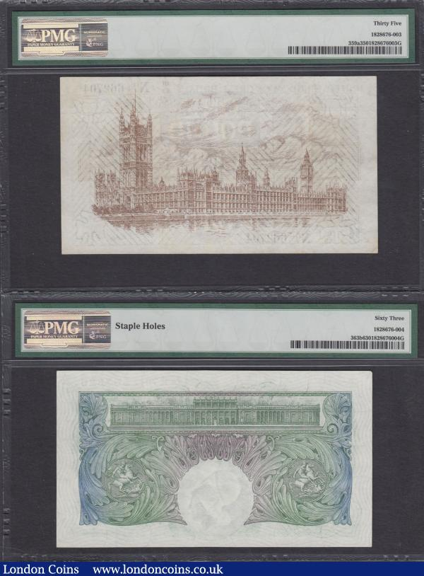 Treasury & Bank of England (2) both graded by PMG and in their holders comprising One Pound Fisher T31 Ireland in title Dot in No. Second Issue 1923 series B1/53 662704 graded PMG Choice Very Fine 35 along with One Pound Green Catterns B225 issued 1930 serial number R74 567826 graded PMG Choice Uncirculated 63 Staple holes  : English Banknotes : Auction 166 : Lot 32