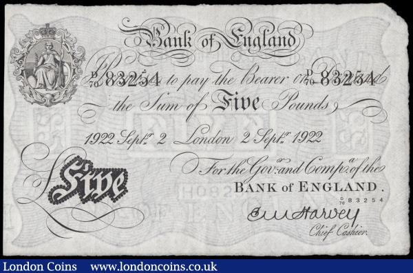 Five Pounds Harvey White note B209a dated 2nd September 1922 serial number D/70 83254 LONDON branch issue about UNC and Exceptionally Scarce and rarely seen in this high grade. Sir Ernest Musgrave Harvey was the 17th Chief Cashier which he became on the 6th May 1918 just as the end of World War I was approaching. The inflation caused during the war meant that demand for banknotes increased during Mr Harvey's time in office. Sir Harvey was knighted in 1920 and created a Baronet in 1933, among his other honours which were the CBE, Chavlier of the Legion of Honour and Chavlier of Leopold of Belgium. : English Banknotes : Auction 166 : Lot 33