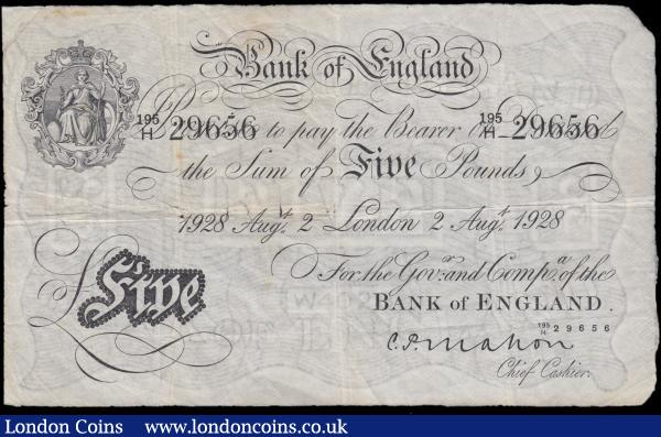 Five Pounds Mahon White note B215 dated 2n August 1928 serial number 195H 29656 LONDON branch issue VG - about Fine and Scarce : English Banknotes : Auction 166 : Lot 38