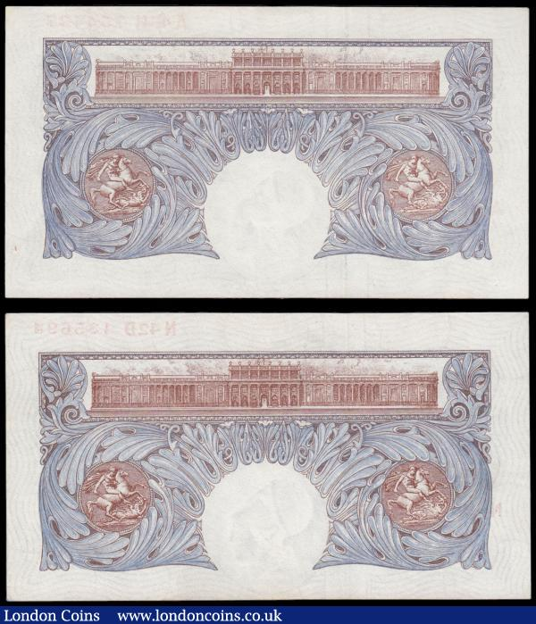 One Pounds Peppiatt World War II Emergency B249 Blue/Pink issues 1940 (2) comprising serial numbers N42D 135693 and A45H 754427. Both About UNC - UNC : English Banknotes : Auction 166 : Lot 45