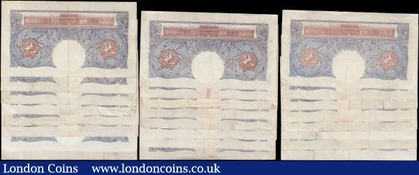 One Pounds Peppiatt World War II Emergency issues B249 Blue/Pink issues 1940 (24) in mixed grades average VF- GVF  and above comprising prefixes C38H, E10H, J42H, K89E, K91E, L64E, L70E, L96E, M75E, M89E, M90E, N34E, N93E, O32E, O38E, O43E, O45E, O69E, O76E, O84E, R06E, R08E, R26E and R52E. : English Banknotes : Auction 166 : Lot 46