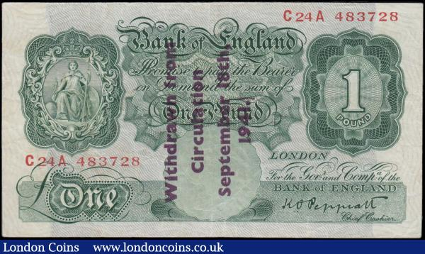 One Pound Peppiatt Guernsey overprint B239A 1941 issue Type A Full stop on obverse only serial number C24A 483728 about VF - VF : English Banknotes : Auction 166 : Lot 48
