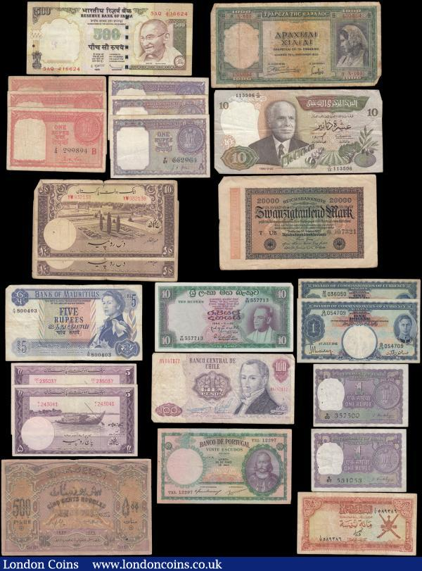 World (23) in mixed grades comprising India (9) including Persian/Arabian Gulf 1 Rupees Pick R1 (3) red and serial numbers Z/3 971890, Z/4 299894 and Z/5 822663, 1 Rupees Pick 76a (2) prefixes F21 & B89, Pick 75f prefix Q78, Pick 77a (2) prefixes S57 & S69 along with 500 Rupees Pick 99r prefix 5AQ. Pakistan (4) including 5 Rupees Pick 12a ND 1951-1960 (2) serial numbers GC/1 235037 & V/1 243041 signature Shujaat Ali Hasnie, along with 10 Rupees Pick 13 ND 1951-1967 (2) serial numbers YW932138 & RY741032 signature Abdul Qadir. Portugal 20 Escudos Pick 153a dated 25th May 1954 serial number TXL 12297 signature title at left Vice-Governador signatures Alvaro Pedro de Sousa & Jose Caeiro da Mata. Greece 1000 Drachmai Pick 110a dated 1st January 1939 serial number A101 450654. Germany Reichsbanknote 20000 Mark dated 20th February serial number with star prefix 007321. Tunisia 10 Dinars Pick 84 dated 20th March 1986 serial number d/36 113506. Oman 100 Baisa Pick 13a ND (1977) serial number A/7 589386 Azerbaijan 500 Rubles Pick 7 dated 1920 serial number BH 0875.  Mauritius 5 Rupees young Queen Elizabeth II portrait Pick 13b ND 1967 serial number A/16 800403. Chile 100 Pesos Pick 152b dated 1981 signatures  Alvaro Bardon Munoz & Carlos Molina Orrego serial number B4147872. Ceylon 10 Rupees Pick 64 dated 28th August 1964 serial number M/65 557713. Malaya 1 Dollars Pick 11 dated 1st July 1941 King George VI (2) serial numbers M/18 036050 & Q/49 054709.  : World Banknotes : Auction 166 : Lot 483