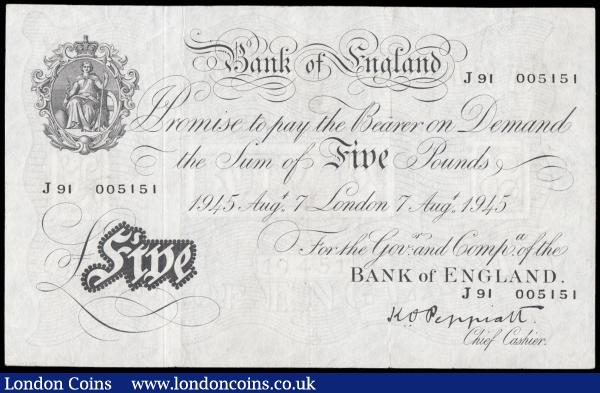 Five Pounds Peppiatt White note B255 Thick paper Metal Threaded Second Period issue dated 7th August 1945 serial number J91 005151 LONDON branch GVF - about EF, Pinholes : English Banknotes : Auction 166 : Lot 51