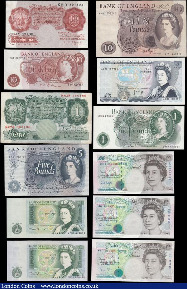 Bank of England (12) mostly about UNC - UNC comprising O'Brien (2) including 10 Shillings B271 Red-Brown issue 1955 serial number C51Y 891803 and 1 Pound Green B273 issue 1955 serial number N02K 366188. Hollom (2) including 1 Pound QE2 portrait & seated Britannia B288 issue 1963 serial number E39N 646954 and 5 Pounds QE2 portrait & seated child Britannia B297 issue 1963 serial number K76 786162. Fforde 10 Shillings QE2 portrait & seated Britannia B309 issue 1967 serial number 90T 068296. Page (2) including 5 Pounds QE2 pictorial & The Duke of Wellington B336 L Reverse issue 1973 serial number AT30 184096 and 10 Pounds Lion & Key B326 issue 1971 serial number B44 252116. Somerset 1 Pounds QE2 pictorial & Sir Isaac Newton B341 W reverse issues 1981 (2) serial numbers AZ57 014879 and DU59 660148. Gill 5 Pounds First Historical QE2 & George Stephenson B357 issues 1990 (2) including a FIRST RUN serial number A01 207028 along with L36 811855. Kentfield 5 Pounds First Historical QE2 & George Stephenson B364 issue 1993 serial number AK42 974168 : English Banknotes : Auction 166 : Lot 53