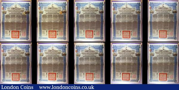 China, Chinese Government 1913 Reorganisation Gold Loan, 10 x bonds for £100 Hong Kong & Shanghai Bank issues, vignettes of Mercury and Chinese scenes, black & blue, with coupons. Generally Fine to Good Fine with pencil annotations, some with pinholes : Bonds and Shares : Auction 166 : Lot 6