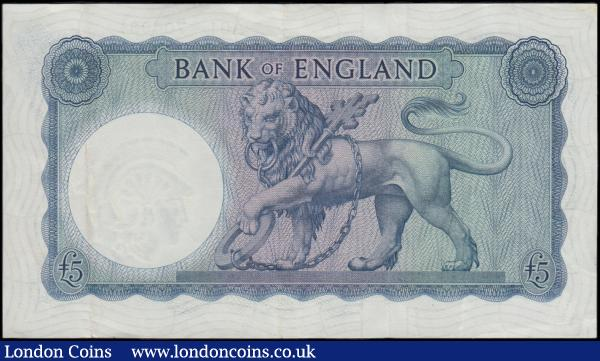 Five Pounds O'Brien Lion & Key B277 £5 Shaded Symbol issue 1957 FIRST RUN series A01 704031 about EF and Scarce note  : English Banknotes : Auction 166 : Lot 60