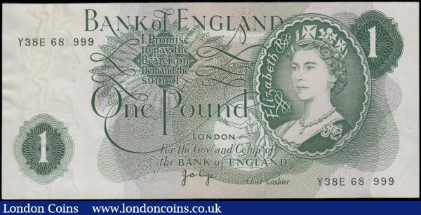 One Pound QE2 portrait & seated Britannia ERROR note B320 issue 1970 missing one number from the serial number Y38E 68?999, a faint 6 can be observed under close inspection at upper left serial number but not on the lower right serial number. GEF : English Banknotes : Auction 166 : Lot 65