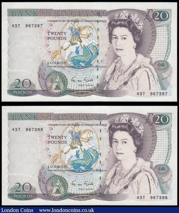 Twenty Pounds Gill QE2 pictorial & William Shakespeare B355 issues 1988 (2) a consecutively numbered pair serial numbers 43T 967397 & 43T 967398 both UNC : English Banknotes : Auction 166 : Lot 78