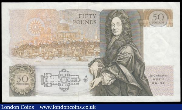 Fifty Pounds Gill QE2 pictorial & Sir Christopher Wren B356 issue 1988 serial number D34 225337 GEF : English Banknotes : Auction 166 : Lot 80